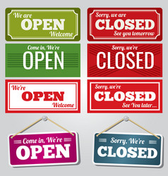 open and closed store signs vector image