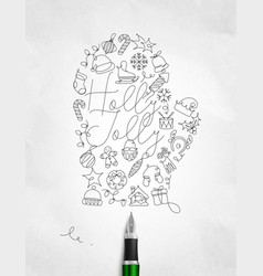 pen line drawing christmas tree toy glove vector image