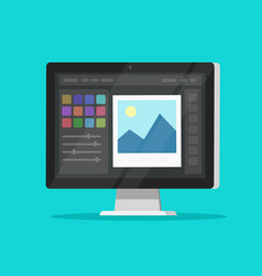 photo or graphic editor on desktop computer vector image