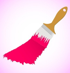 Pink colour paint brush on smooth background vector