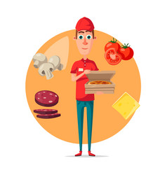 Poster of pizza delivery man for pizzeria vector