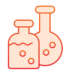 Potion flasks flat icon two bottles chemistry vector