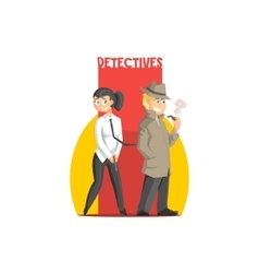Private Detectives Couple Banner vector image