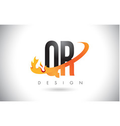 Qr q r letter logo with fire flames design and vector