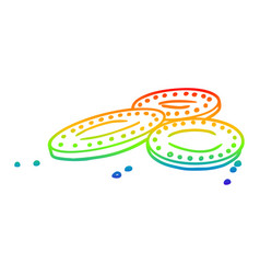 rainbow gradient line drawing cartoon gold coins vector image