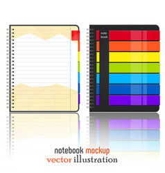 Rainbow notebook mokup isolated on white vector