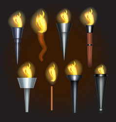 realistic detailed 3d torch flame set vector image
