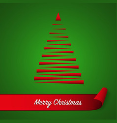 red abstract christmas tree on green background vector image