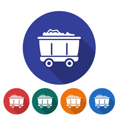 round icon of coal wagon flat style with long vector image