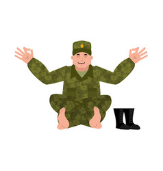 Russian soldier yoga warrior yogi relaxation and vector