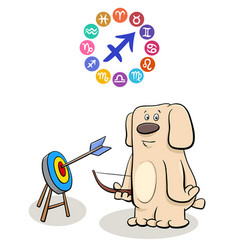 sagittarius sign with cartoon dog vector image