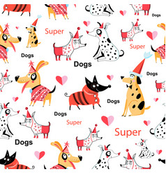 seamless funny pattern enamored funny dogs vector image