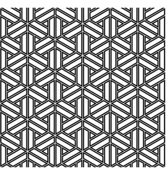 Seamless geometric ornament in black colors lines vector