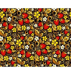 seamless pattern in Hohloma style vector image