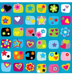 Seamless pattern with stars flowers and hearts vector image