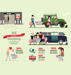 Set cartoons character family shopping day vector