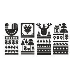 set of black and white scandinavian prints vector image