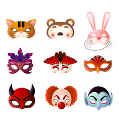set of carnival halloween and animals masks vector image