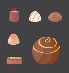 Set of chocolate candies cartoon vector
