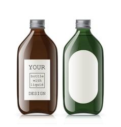 Set of different empty glass bottles vector