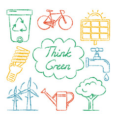 Set of hand drawn ecology icons vector