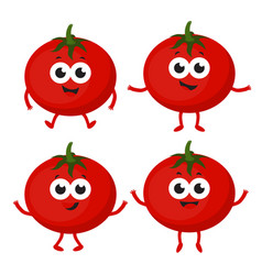 Set with cartoon tomato vector