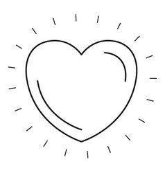 Silhouette front view heart shape symbol charity vector