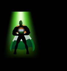 silhouette of a superhero under green light vector image