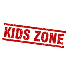 square grunge red kids zone stamp vector image