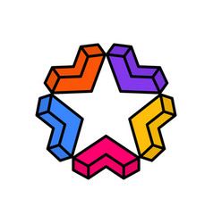 Star logo with arrow symbol colorful abstract vector