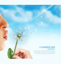 Summertime dandelion blow background vector