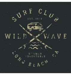 Surfing tee design in vintage rubber style vector