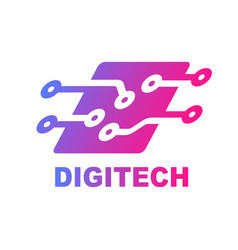 technology logo computer and data related vector image