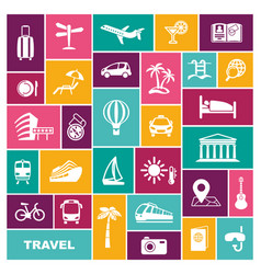 travel icons in flat style vector image