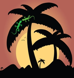 two green lizard on palm tree vector image