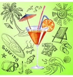 Watercolor cocktail and tourist hand draw icon vector