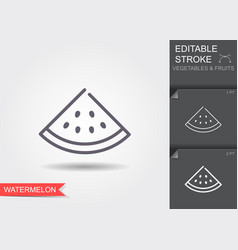 watermelon outline icon with vector image