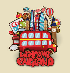 Welcome to england cartoon educational concept vector