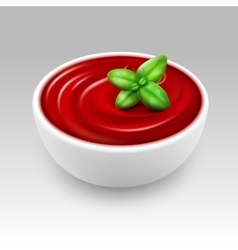 White Bowl of Red Tomato Sauce with Green Basil vector