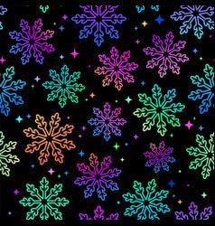 winter pattern multicolored bright snowflakes vector image