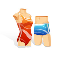 woman and man swimsit showcase vector image
