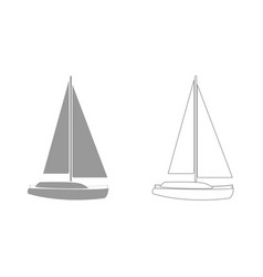 Yacht grey set icon vector