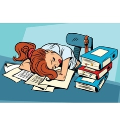 Young woman sleeping at work or school vector