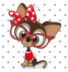 cute cartoon puppy with red glasses vector image vector image