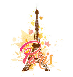 eiffel tower and falling leaves vector image vector image