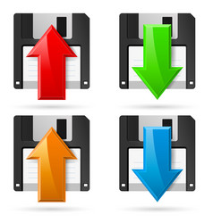Floppy icons upload and download on white vector