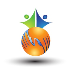 Hands around world and people logo vector image