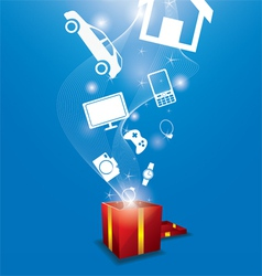 many gifts floating from gift box vector image