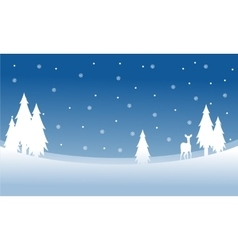 Silhouette of deer on the hill winter Christmas vector image vector image