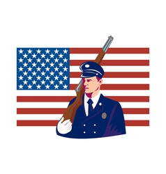 American soldier stars and stripes flag vector image vector image